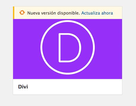 actualizar nueva versión divi