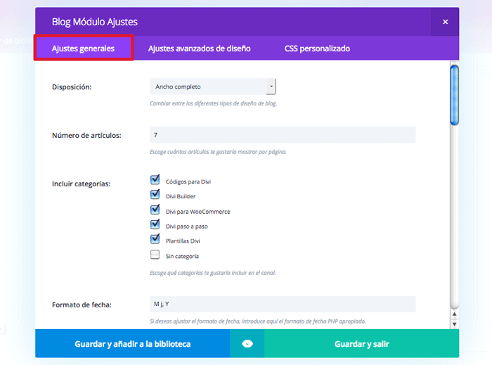 configurar módulo blog divi