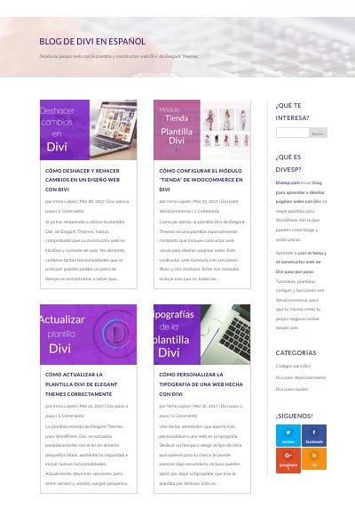 tema divi módulo blog