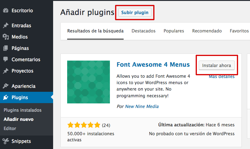 plugin iconos font awesome