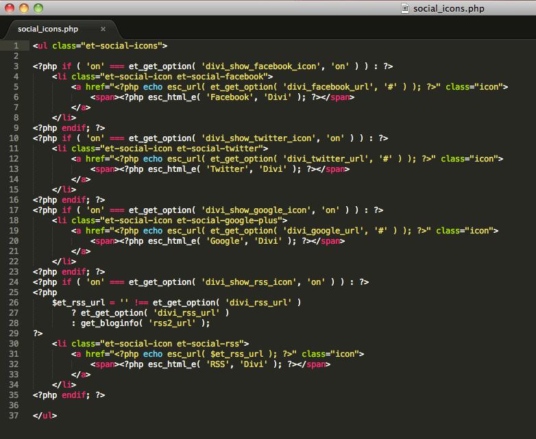 sublime código iconos sociales