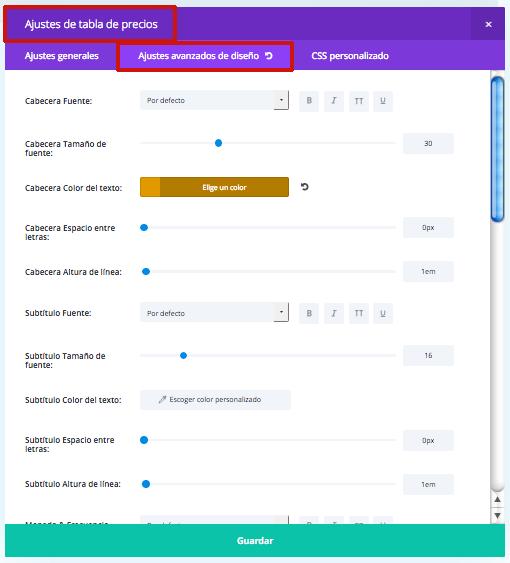 ajustes de diseño módulo tabla precios divi