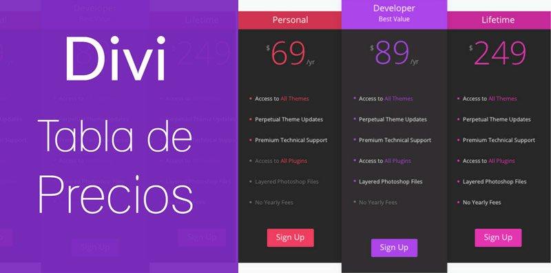 Diseñar y crear una Tabla de Precios con el constructor web Divi