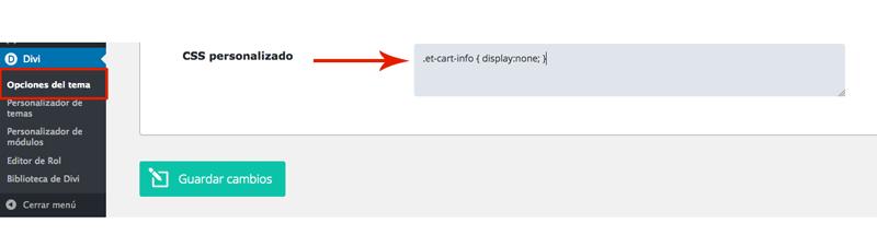 Eliminar el icono de carrito de WooCommerce en Divi
