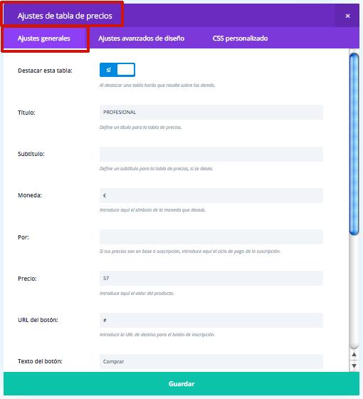 hacer tabla productos web
