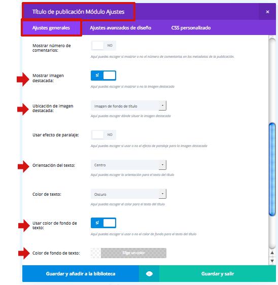 personalizar módulo título publicacion-divi