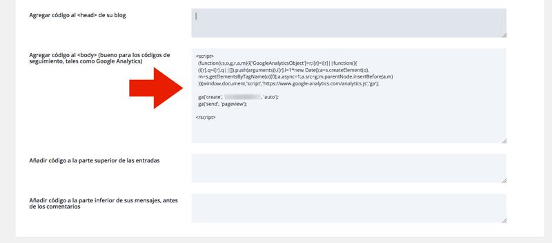 plantilla divi código analytics