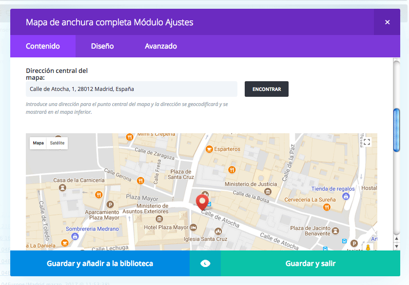 agregar mapa web divi