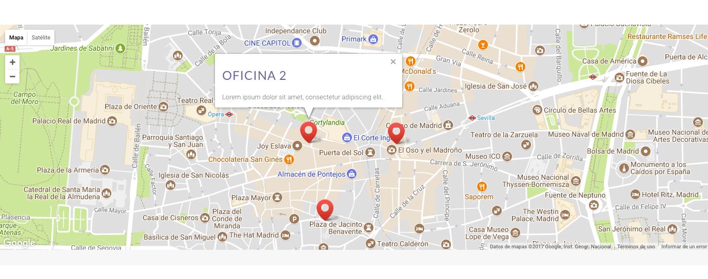 varias direcciones google maps plantilla divi