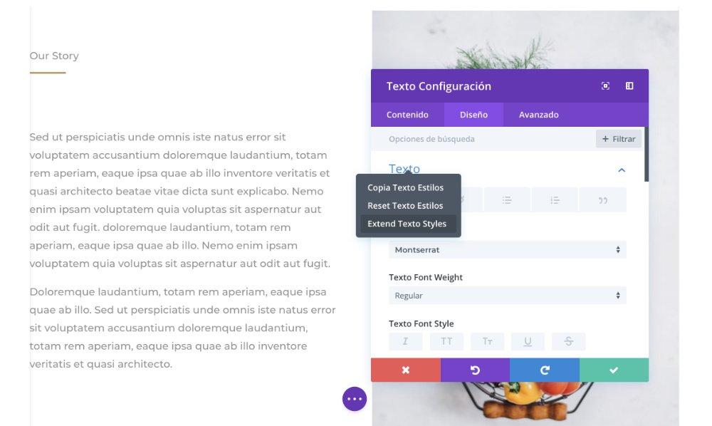 extend styles módulo texto divi